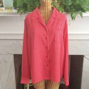 Laura Scott Red White Button Down Blouse